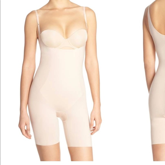 d8a29dc9cecbe Spanx Thinstincts Open Bust Mid Thigh Bodysuit. M 5aff00999a9455163ed9cc41